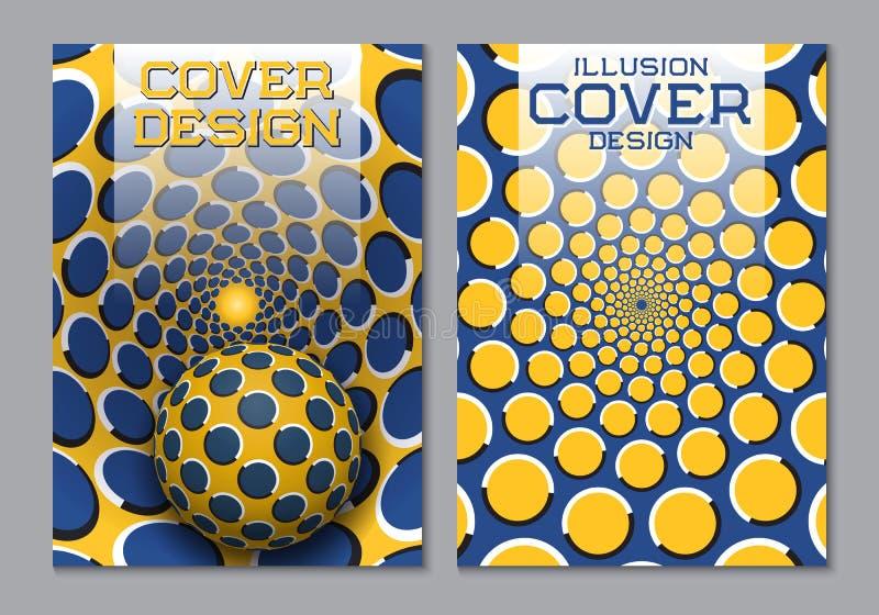 Plantilla amarilla azul del diseño de la cubierta de libro del esquema de color con los elementos ópticos de la ilusión del movim libre illustration