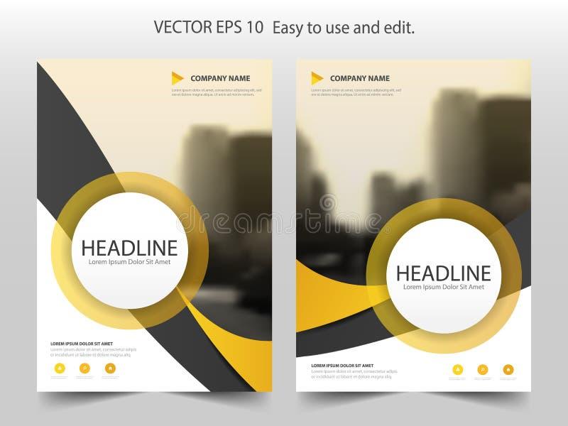 Plantilla amarilla del diseño del informe anual del aviador del folleto del círculo de la curva ilustración del vector