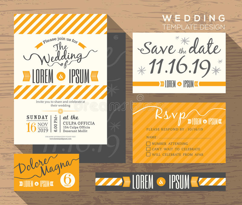 Plantilla amarilla moderna del diseño determinado de la invitación de la boda de la raya libre illustration
