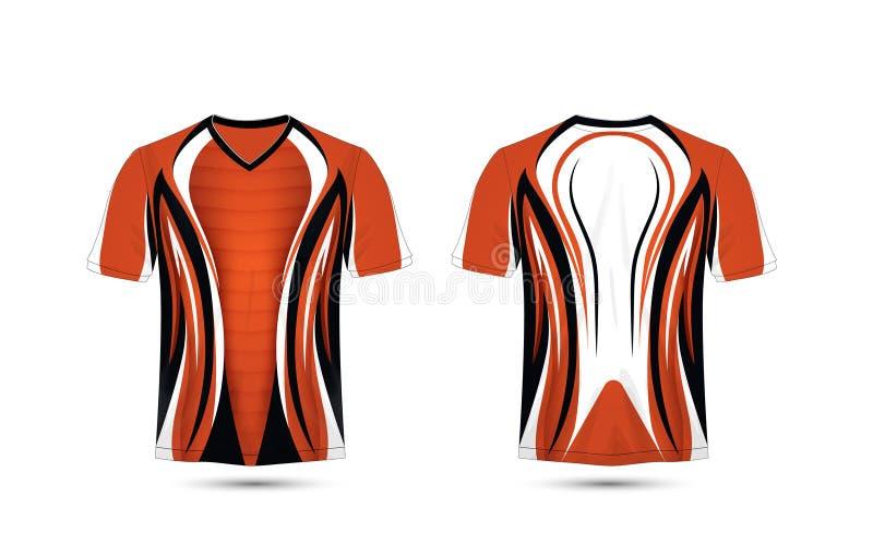 Plantilla anaranjada, blanca y negra del diseño de la camiseta del e-deporte de la disposición ilustración del vector