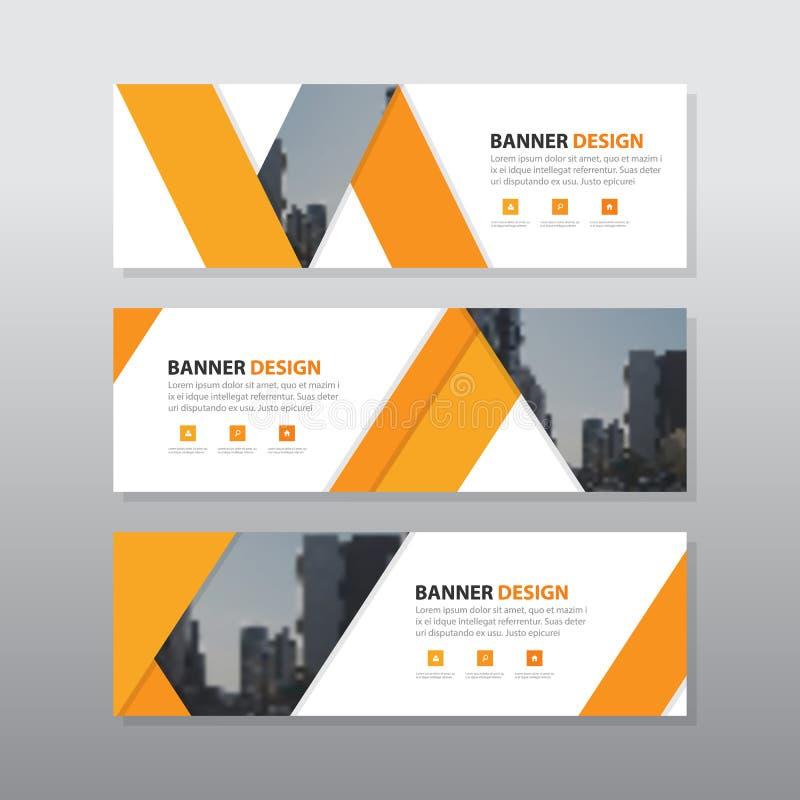 Plantilla anaranjada de la bandera del negocio corporativo del extracto del triángulo ilustración del vector