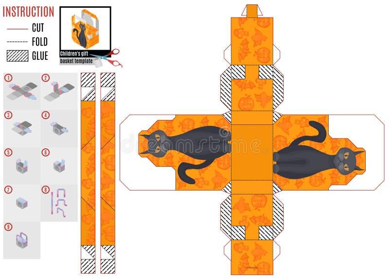Plantilla anaranjada de la caja para Halloween con el gato ilustración del vector