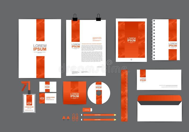 Plantilla anaranjada de la identidad corporativa para su negocio ilustración del vector