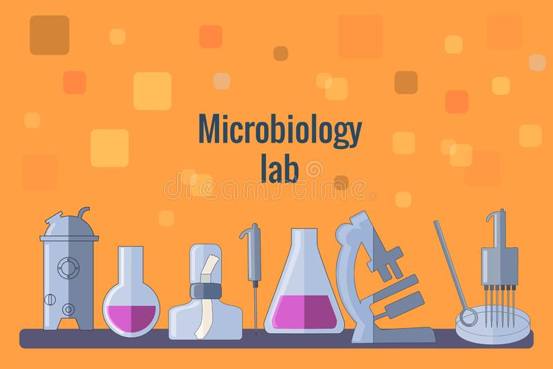 Plantilla anaranjada de los instrumentos de la microbiología del fondo stock de ilustración