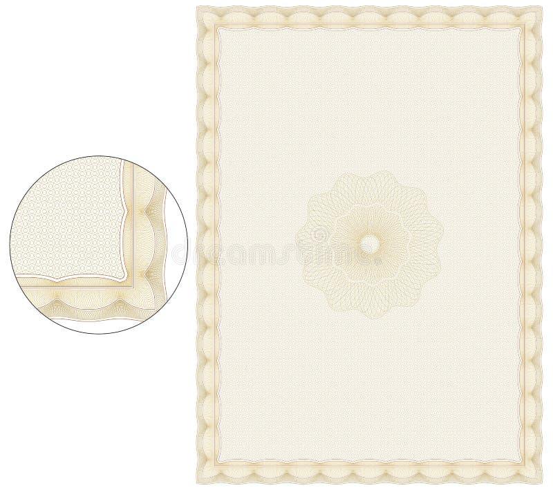 Plantilla anaranjada del certificado del vintage imagen de archivo
