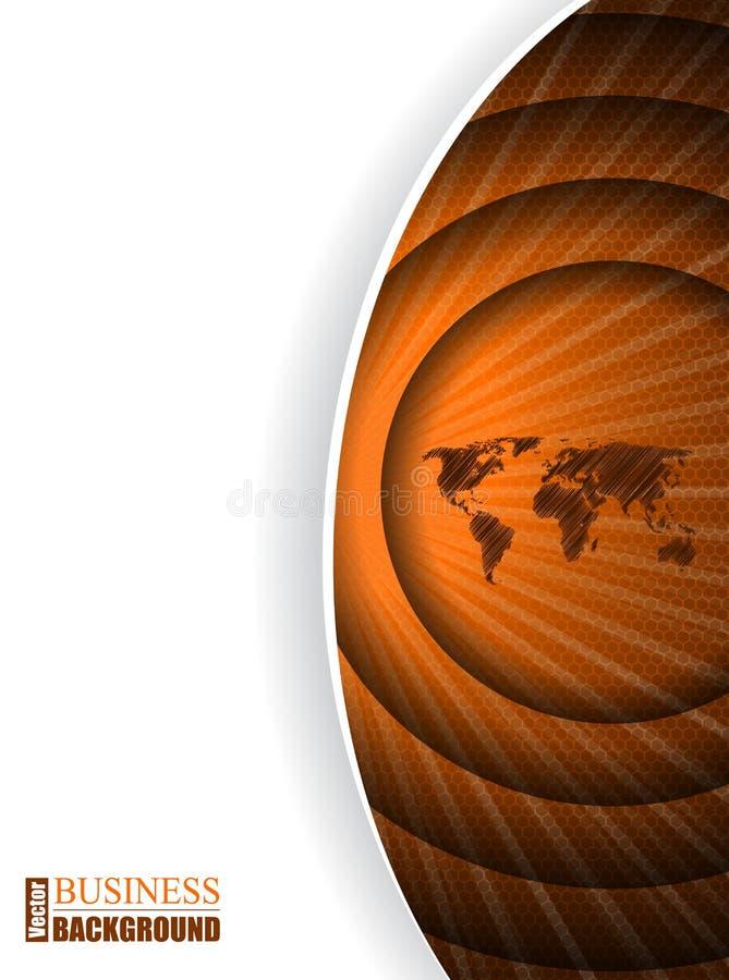 Plantilla anaranjada del folleto del negocio con el mapa en efecto dominó ilustración del vector