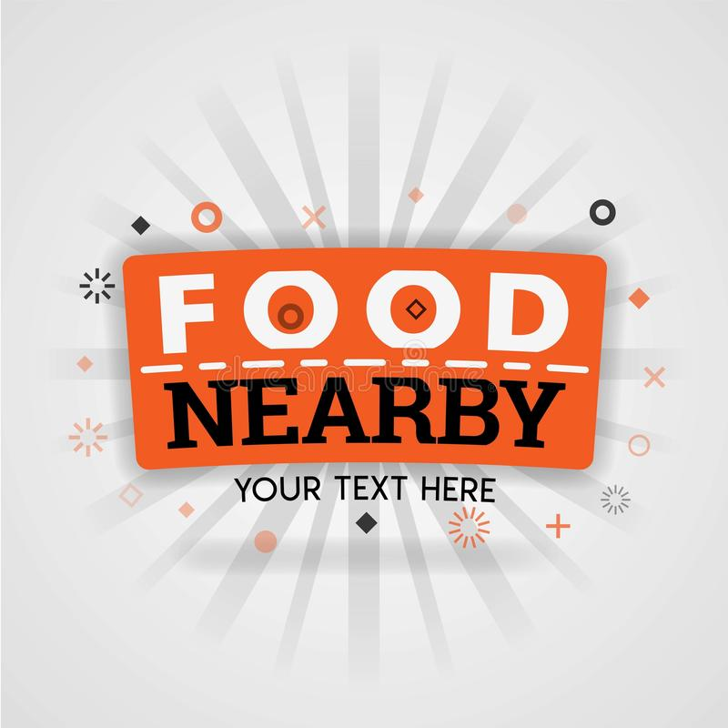 Plantilla anaranjada del logotipo para la comida cerca para la promoción, publicidad, márketing Puede estar para la cubierta del  stock de ilustración