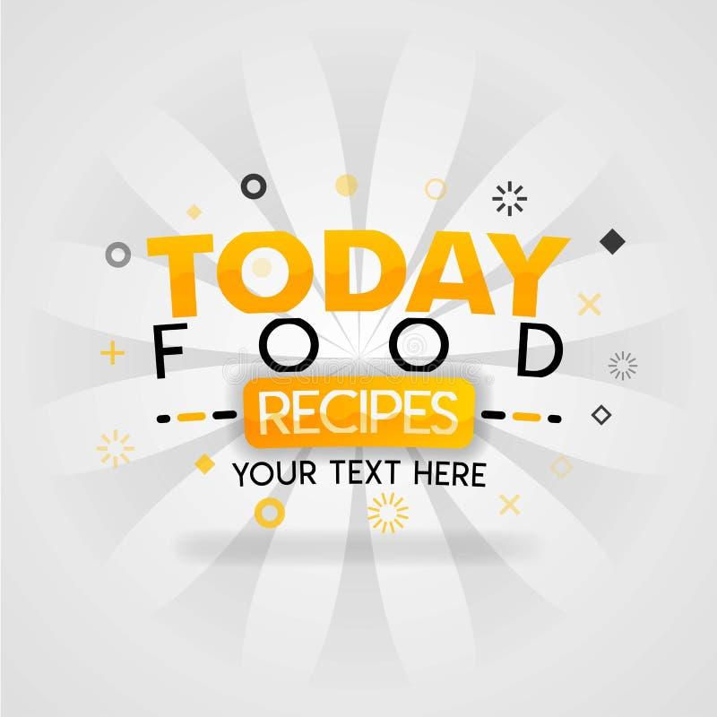 Plantilla anaranjada del logotipo para las recetas de la comida del hoy para la promoción, publicidad, márketing Puede estar para ilustración del vector