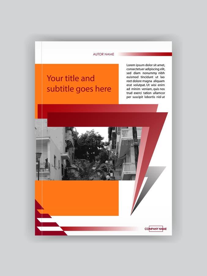 Plantilla anaranjada roja del folleto del diseño de la cubierta, libro, revista, aviador, ilustración del vector