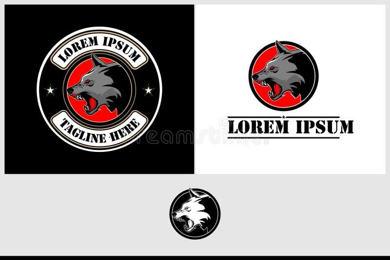 Plantilla animal del logotipo del vector de la cabeza salvaje enojada del lobo stock de ilustración