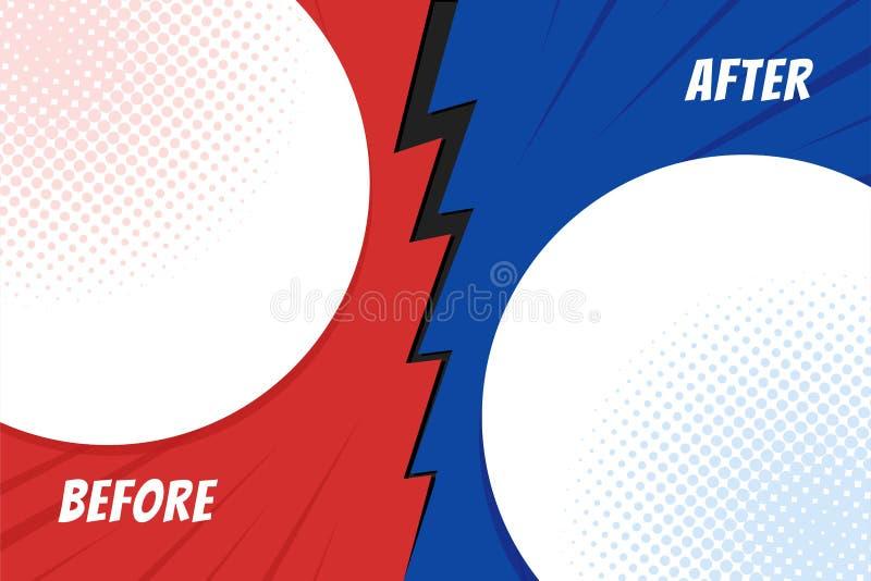 Plantilla antes y después del fondo Tarjeta de la comparación con el espacio vacío Vector ilustración del vector