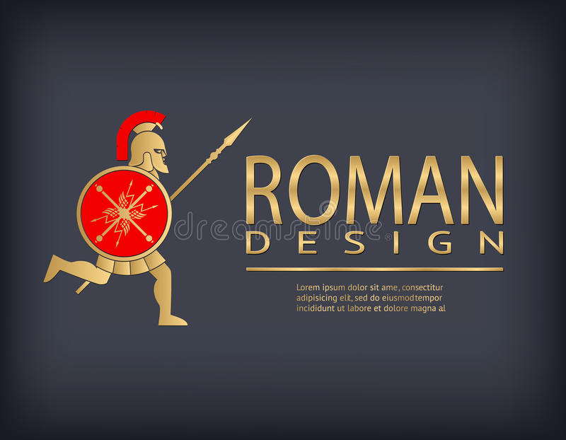 Plantilla antigua del logotipo del guerrero ilustración del vector