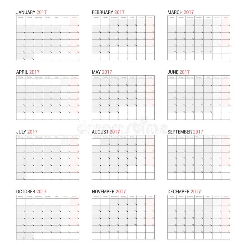 Plantilla Anual Del Planificador Del Calendario De Pared Por 2017 ...