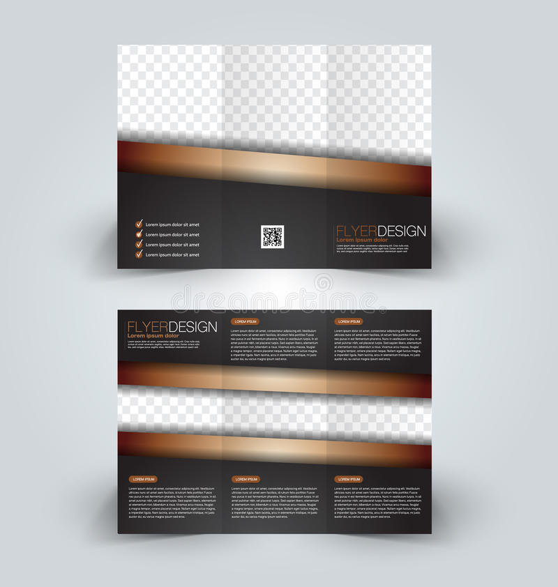 Plantilla ascendente del diseño de la mofa del folleto para el negocio, educación, anuncio Folleto triple ilustración del vector