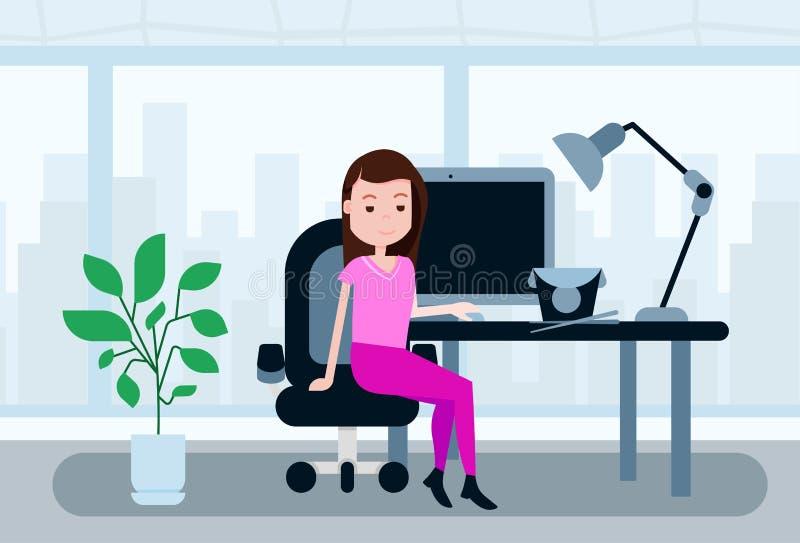 Plantilla asiática del concepto de la comida de la hora de la almuerzo del escritorio del funcionamiento de oficina de la mujer q ilustración del vector