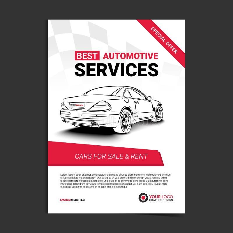 Plantilla automotriz de la disposición de los servicios, coches para la venta y folleto del alquiler, aviador de la maqueta ilustración del vector