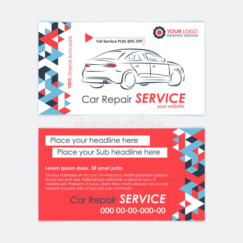 Plantilla automotriz de la tarjeta de la empresa de servicios Diagnósticos del coche y reparación del transporte stock de ilustración