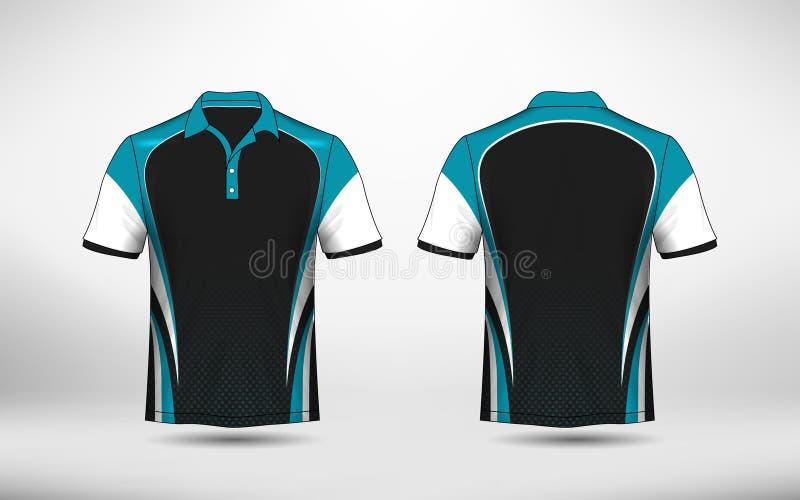 Plantilla azul, blanco y negro del diseño de la camiseta del e-deporte de la disposición ilustración del vector