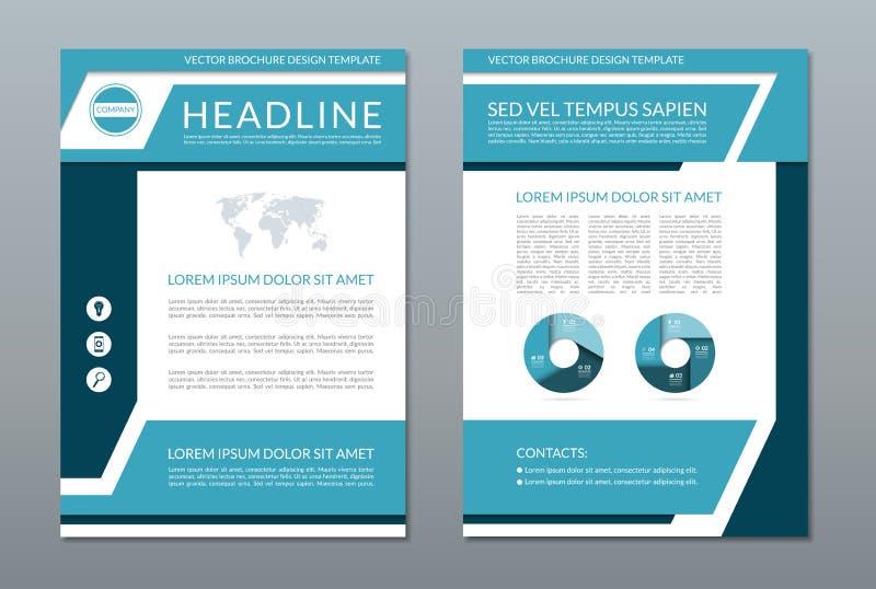 Plantilla azul de la disposición del aviador del folleto del informe anual Tamaño A4 Página del frente y de la parte posterior Fo ilustración del vector