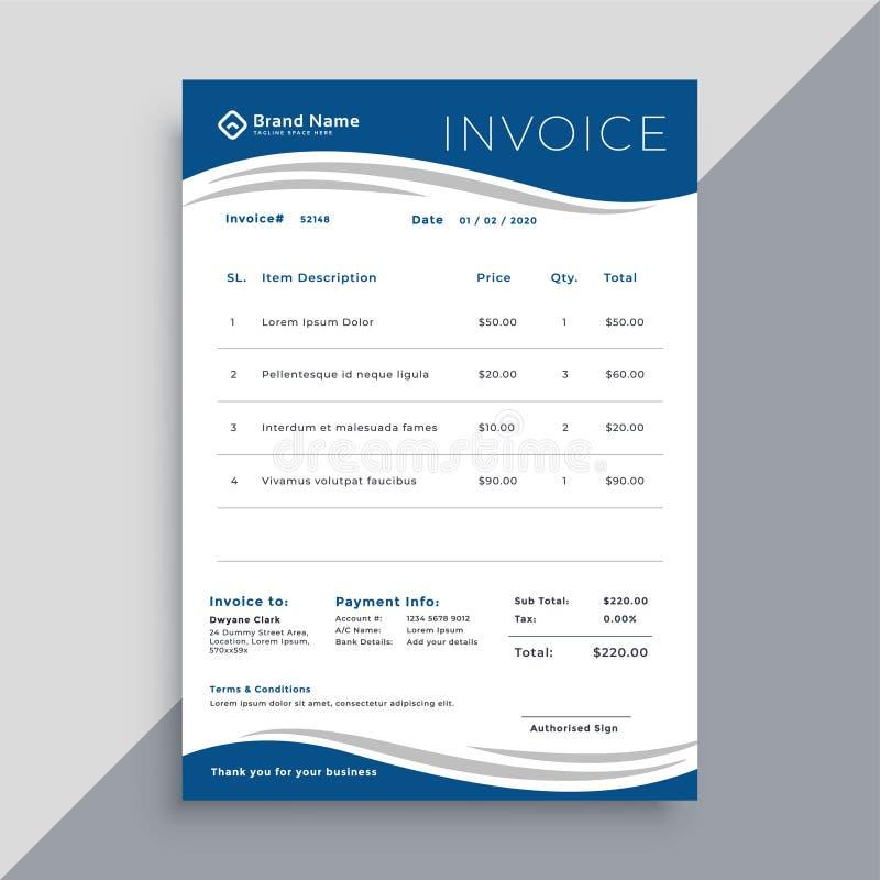 Plantilla azul de la factura del negocio en estilo de la onda ilustración del vector