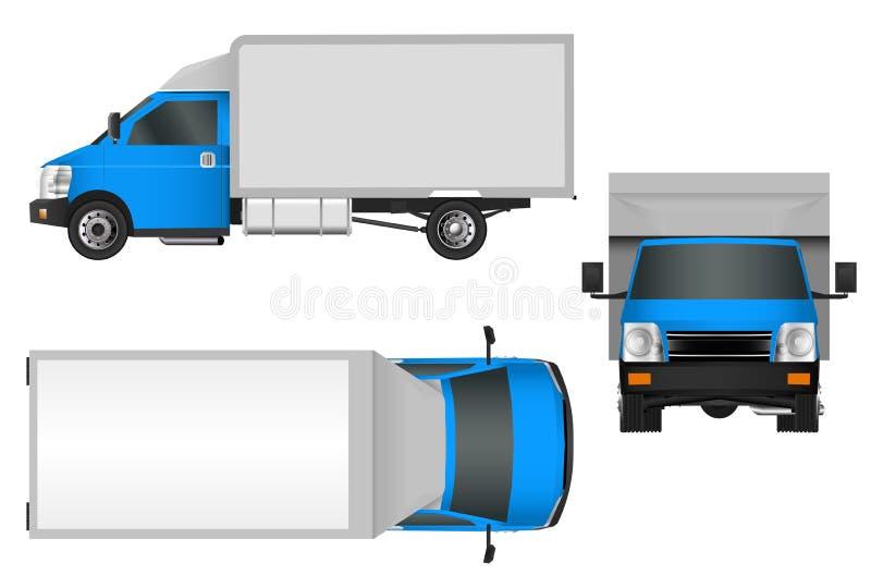 Plantilla azul del camión Ejemplo EPS 10 de Cargo van Vector aislado en el fondo blanco libre illustration