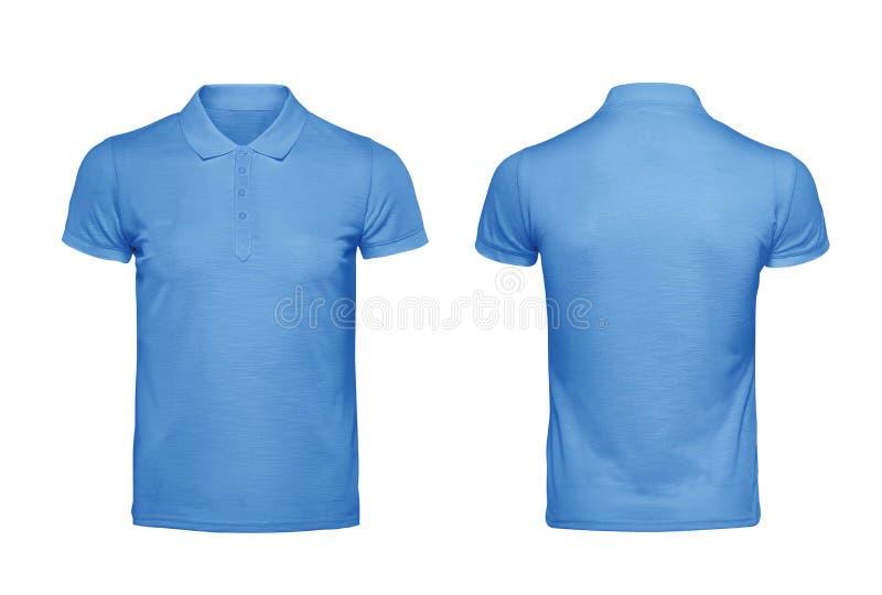Plantilla azul del diseño de la camiseta del polo aislada en blanco con el recortes imagen de archivo libre de regalías
