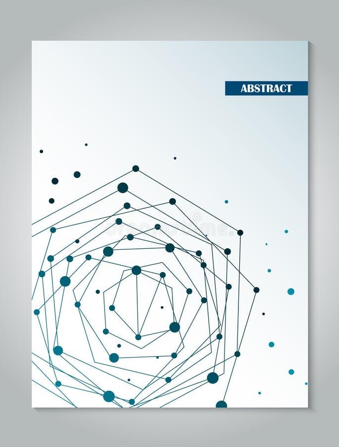 Plantilla azul del diseño de la cubierta del folleto con el fondo abstracto del concepto de la conexión de red ilustración del vector