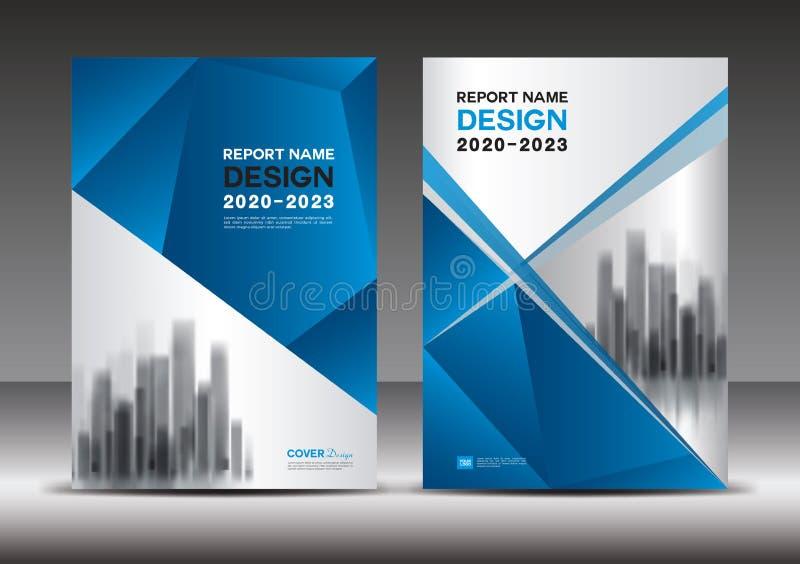 Plantilla azul del diseño de la cubierta, ejemplo del vector del informe anual, disposición de la cubierta de libro, folleto, car libre illustration