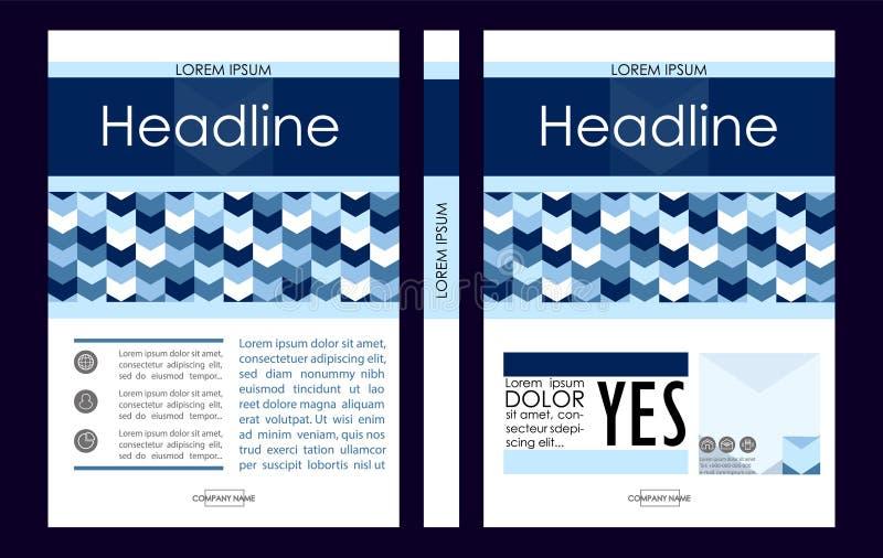 Plantilla azul del diseño de la cubierta de libro del negocio A4 Bueno para la cartera, stock de ilustración