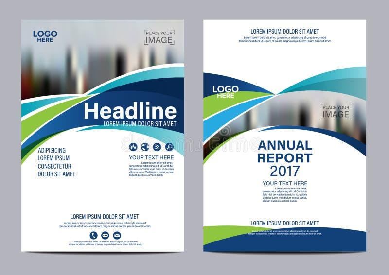 Plantilla azul del diseño del aviador del informe anual del folleto ilustración del vector