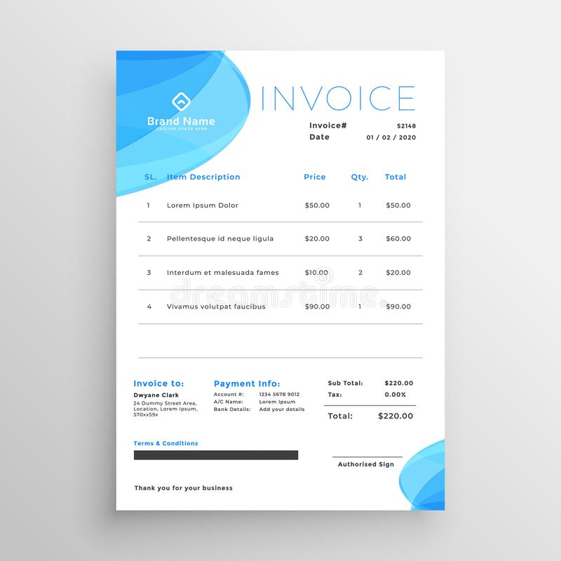 Plantilla azul mínima de la factura del negocio ilustración del vector