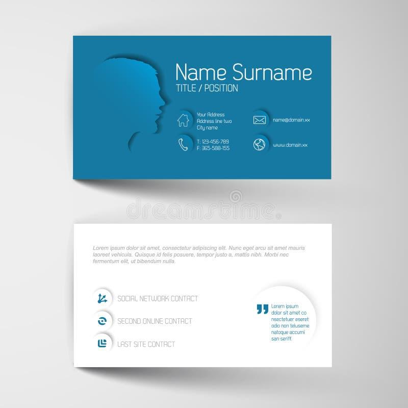 Plantilla azul moderna de la tarjeta de visita con la interfaz de usuario plana ilustración del vector