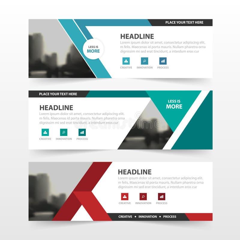 Plantilla azulverde roja de la bandera del negocio corporativo del polígono, sistema plano del diseño de publicidad del negocio d ilustración del vector