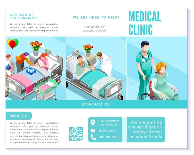 Plantilla básica del folleto del vector azul limpio triple de la clínica médica libre illustration