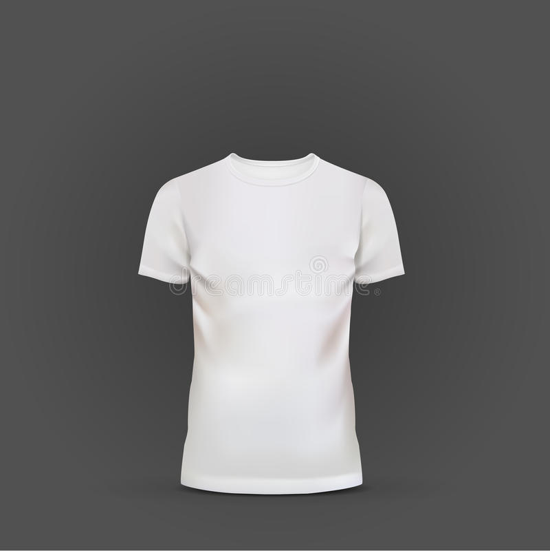 Plantilla blanca de la camiseta aislada en negro ilustración del vector