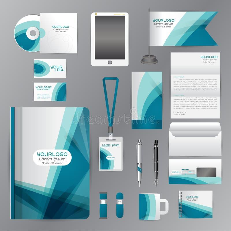 Plantilla blanca de la identidad corporativa con los elementos azules de la papiroflexia VE stock de ilustración