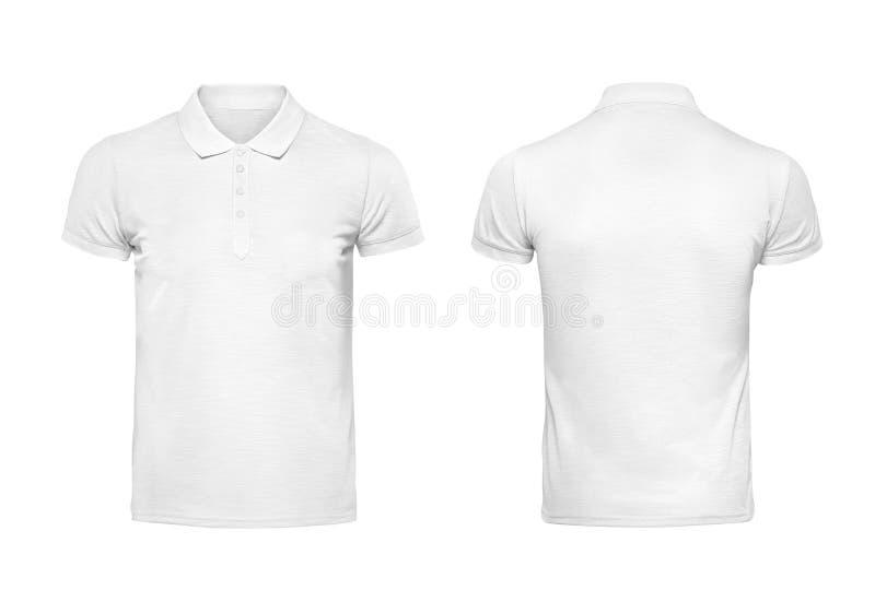 Plantilla blanca del diseño de la camiseta del polo aislada en blanco con el clippin imagen de archivo libre de regalías