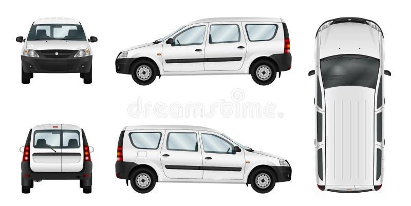 Plantilla blanca del vector del coche de entrega ilustración del vector