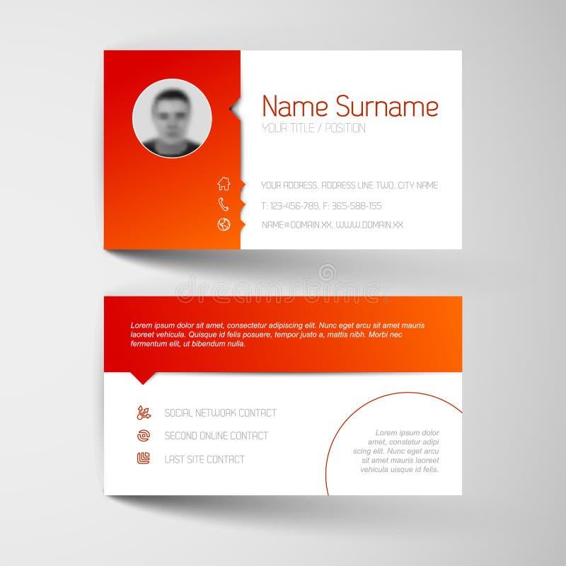 Plantilla blanca y roja moderna de la tarjeta de visita stock de ilustración