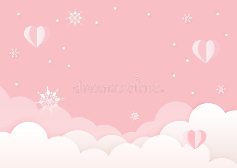 Plantilla blanca y rosada del diseño de la tarjeta de felicitación del día de tarjetas del día de San Valentín stock de ilustración