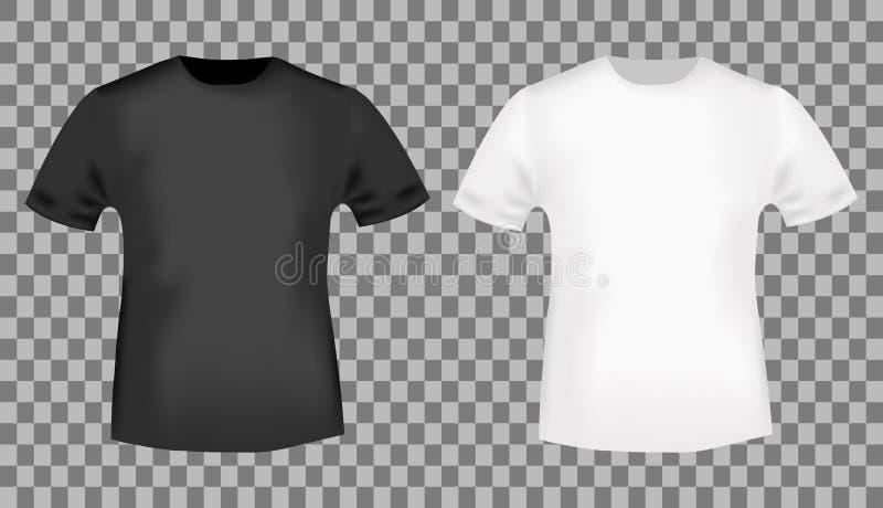 Plantilla blanco y negro de la camiseta stock de ilustración
