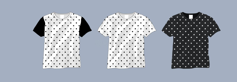 Plantilla blanco y negro de la camiseta del lunar stock de ilustración