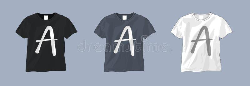 Plantilla blanco y negro de la camiseta ilustración del vector