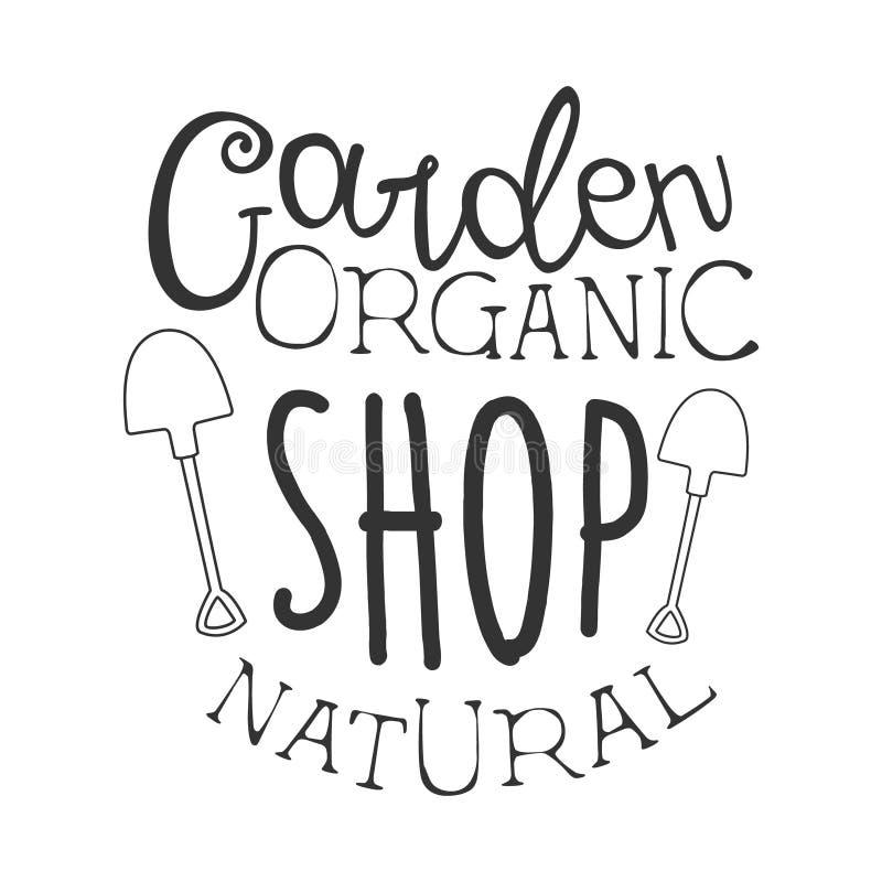 Plantilla blanco y negro del diseño de la muestra del promo de la tienda orgánica natural del jardín con el texto caligráfico ilustración del vector