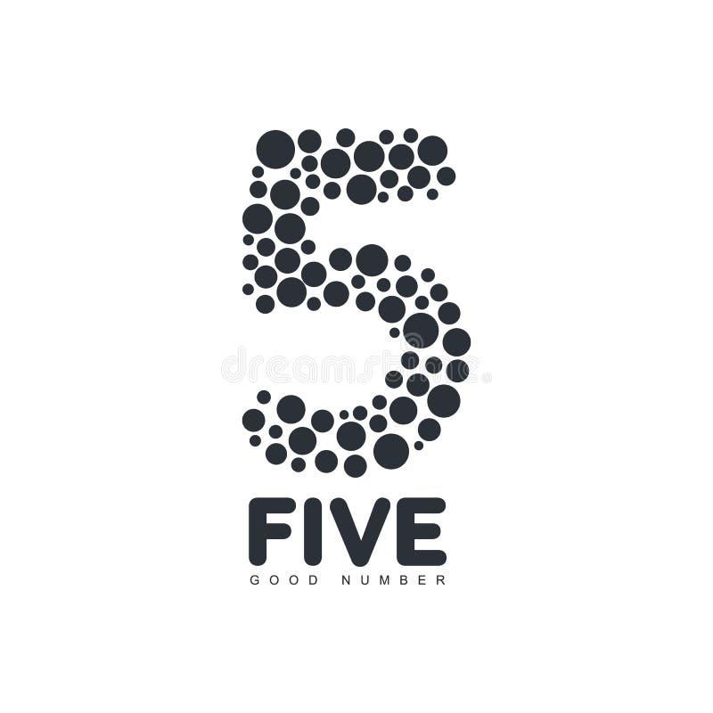 Plantilla blanco y negro del logotipo del número cinco hecha de círculos libre illustration