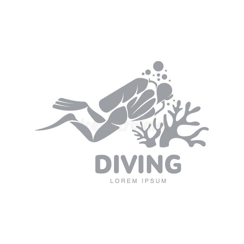 Plantilla blanco y negro del logotipo del salto con el buceador que nada bajo el agua ilustración del vector