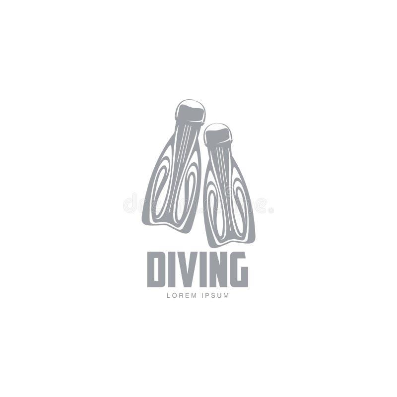 Plantilla blanco y negro del logotipo del salto con pares de aletas libre illustration