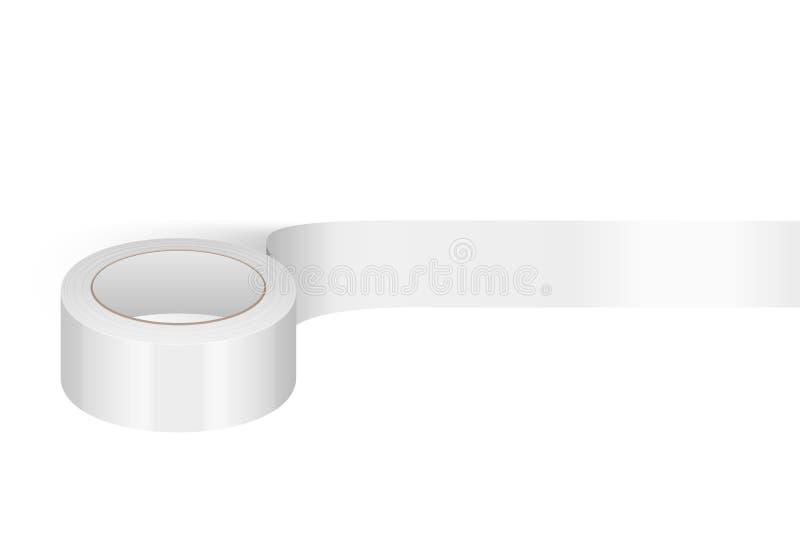 Plantilla brillante blanca realista del rollo de la cinta 3d del vector para el logotipo, impresión, primer de la maqueta aislado ilustración del vector