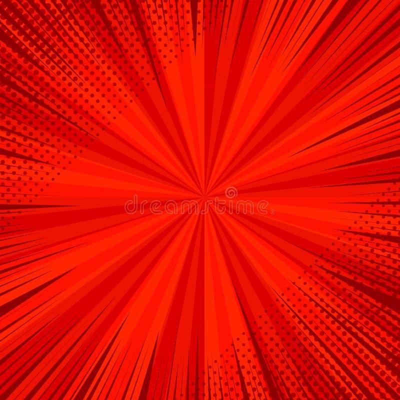 Plantilla brillante del rojo de la página del cómic libre illustration