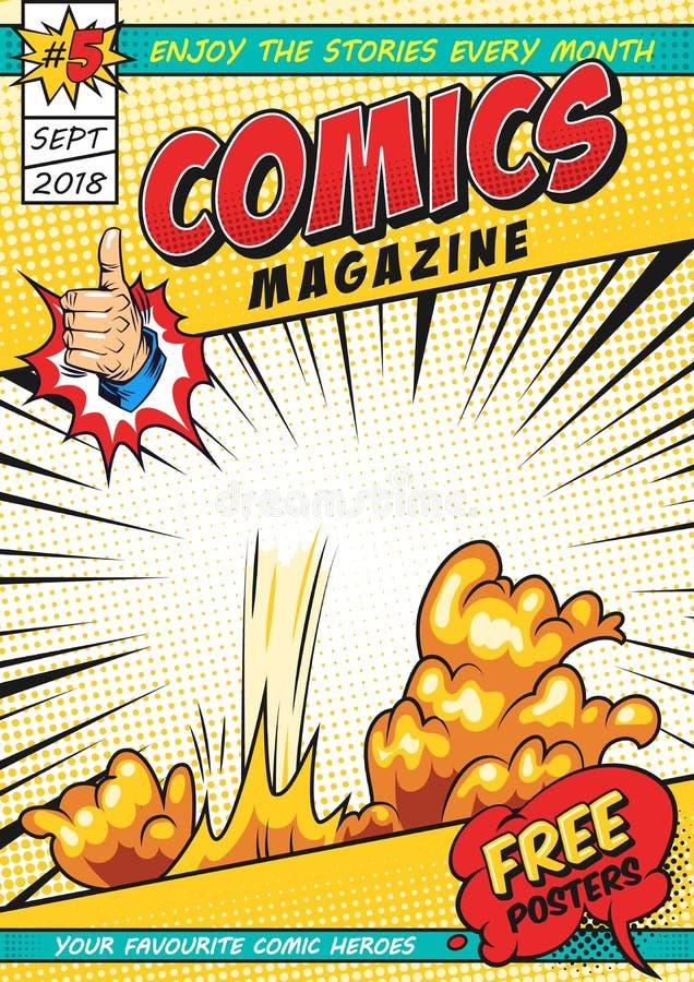 Plantilla cómica colorida de la portada de revista stock de ilustración
